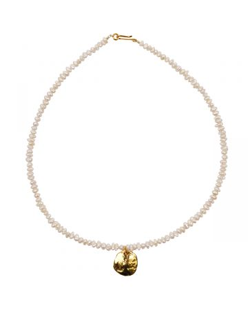 PREEK BEADS PEARL COIN NECKLACE / WHITE
