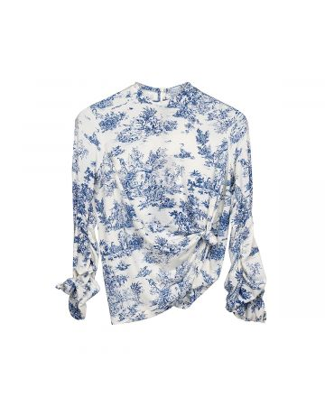 rokh KNOT STRETCH HIGH NECK TOP / 282 : BLUE HAND PAINTED PRINT