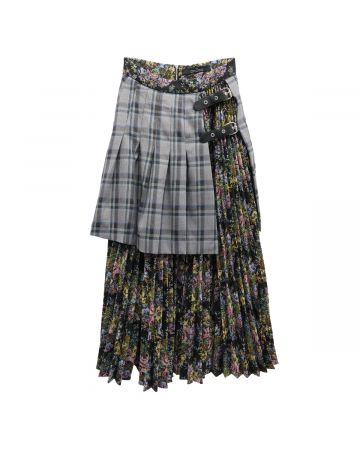 rokh MINI PANEL SKIRT WITH STRAPS / 564 : VIOLET CHECK FLORAL