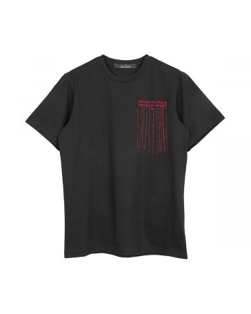 rokh EMBROIDERY WORDS T-SHIRT / 000 : BLACK