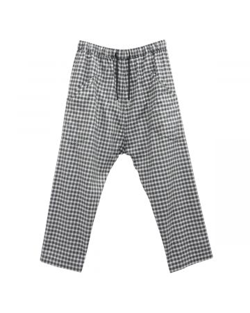Stefan Cooke CROPPED TROUSERS WITH ELASTIC WAIST / BLACK-WHITE