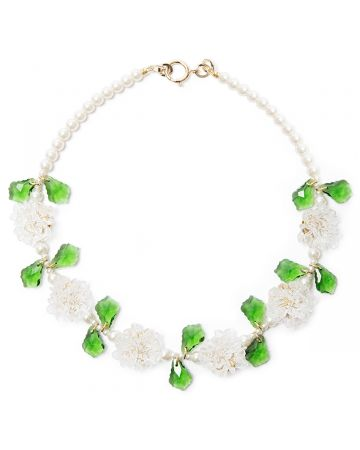 SHRIMPS FLOWER CLUSTER NECKLACE / CLEAR-GREEN-CREAM