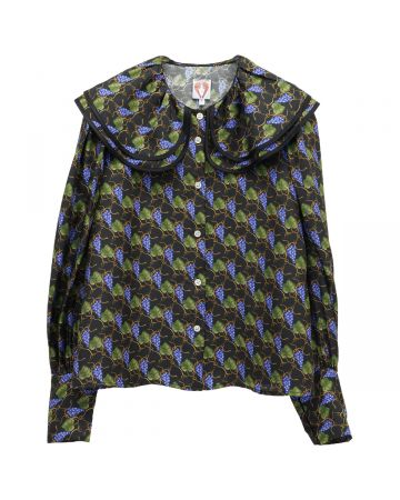 SHRIMPS DOUBLE COLLAR BLOUSE WITH PUFF SLEEVES / BLACK MULTI