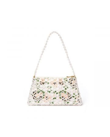 SHRIMPS STRUCTURED FLOWER BEADED BAG / FRILLY HEARTS-CLEAR