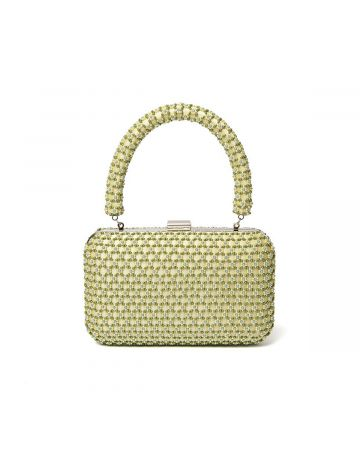 SHRIMPS SMALL BEADED FRAME HAND BAG / YELLOW,GREEN-BLUE