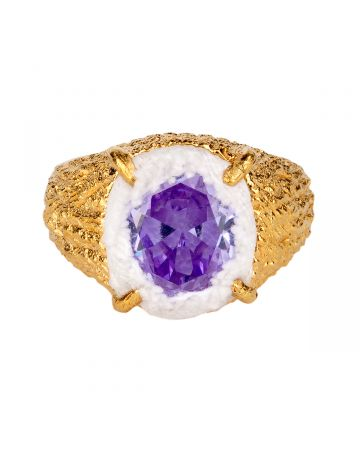 SWEETLIMEJUICE GOLD OVAL ZONG PLANET SIGNET RING / GOLD-WHITE DENIM-PURPLE STONE