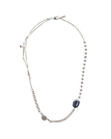 SWEETLIMEJUICE SILVER HALF CRUCIFIX SIGNET OVAL ZONG NECKLACE / SILVER-BLUE-DENIM-CLEAR STONE