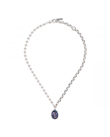 SWEETLIMEJUICE SILVER HEAVY MIXED CHAIN OVAL NECKLACE / SILVER-BLUE DENIM-PURPLE STONE