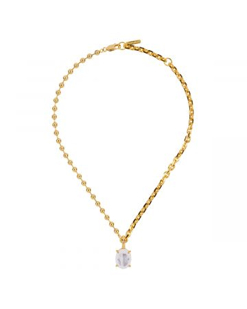 SWEETLIMEJUICE GOLD HEAVY MIXED CHAIN OVAL NECKLACE / GOLD-WHITE DENIM-CLEAR STONE