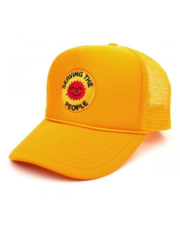 SERVING THE PEOPLE STP SMILEY FACE TRUCKER HAT / GOLD