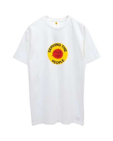 SERVING THE PEOPLE STP SMILEY FACE T-SHIRT / WHITE