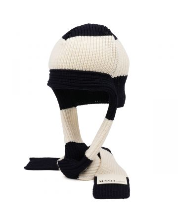 SUNNEI KNIT HAT WITH SCARF KNIT / DARK BLUE-OFF WHITE