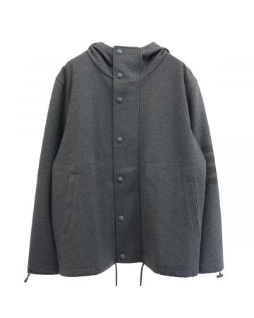 [お問い合わせ商品] THOM BROWNE. HOODED SNAP FRONT JACKET IN DOUBLE FACE TECH TWILL W/ 4 BAR / 035 : MED GREY