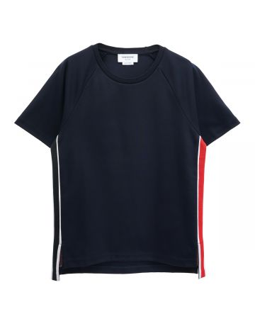 [お問い合わせ商品] THOM BROWNE. SHORT SLEEVE TEE W/ RWB STRIPE IN INTERLOCK / 415 : NAVY