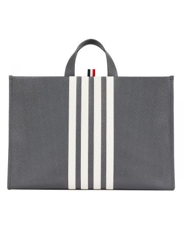 THOM BROWNE. SQUARED TOTE WITH 4 BAR IN PEBBLE GRAIN LEATHER / 025 : DARK GREY