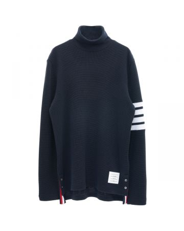THOM BROWNE. TURTLENECK IN COMPACT WAFFLE W/ 4 BAR / 415 : NAVY