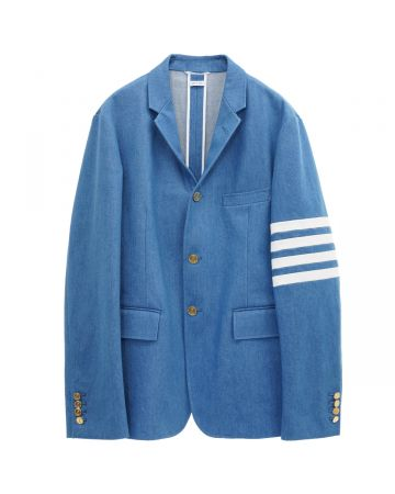 THOM BROWNE. UNCONSTRUCTED CLASSIC SPORT COAT -FIT1- W/ 4 BAR IN WASHED DENIM / 450 : BLUE