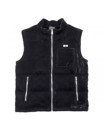 TEAM WANG PRINTED LOGO VELVET DOWN VEST / BLACK