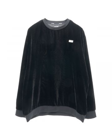 TEAM WANG PRINTED LOGO VELVET SWEATER / BLACK
