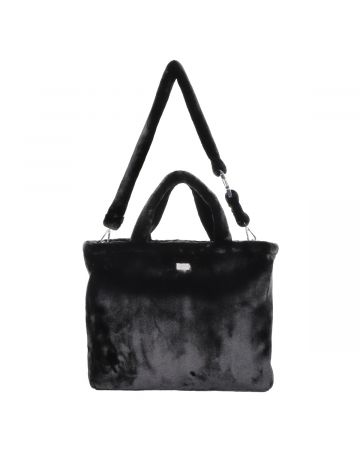 TEAM WANG FUR LOGO BAG / BLACK