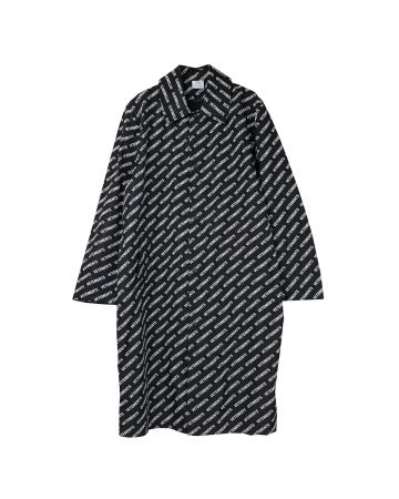 VETEMENTS EXTRA LIGHT ALL-OVER LOGO COAT / BLACK-WHITE