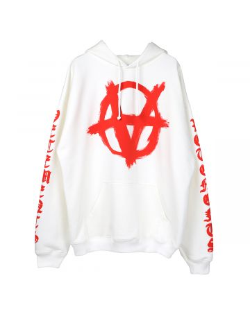 VETEMENTS ANARCHY GOTHIC LOGO HOODIE / WHITE-RED