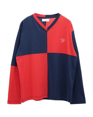 WALES BONNER MILTON CHECKERBOARD TEE / 3599 : RED-NAVY