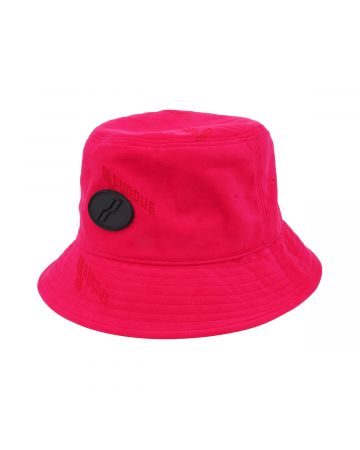 WE11DONE VELVET LOGO BUCKET HAT / PINK