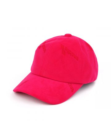 WE11DONE VELVET LOGO CAP / PINK