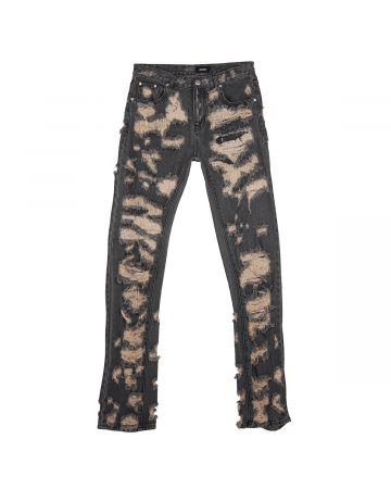 WE11DONE MENS DESTROYED DENIM PANTS / DIRTY BLACK