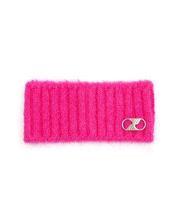 WE11DONE EMBROIDERED LOGO METAL HAIRBAND / PINK