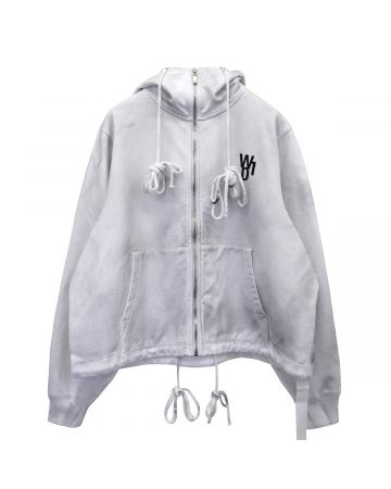 WE11DONE HORROR MOVIE ZIP-UP HOODIE / WHITE
