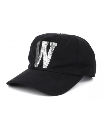 WE11DONE SEQUINS PATCH EMBROIDERED CAP / BLACK