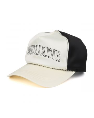 WE11DONE LETTERING SATIN CAP / IVORY