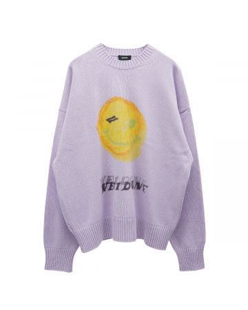 WE11DONE PRINTED KNIT SWEATER / PINK