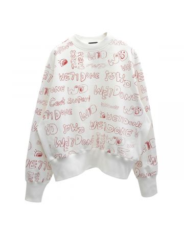 WE11DONE GRAFFITI GRAPHIC SWEATSHIRT / WHITE