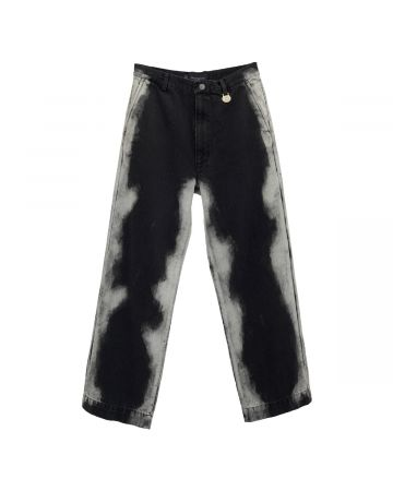 Xander Zhou TROUSERS IN WASHED EFFECT DENIM / BLACK DENIM