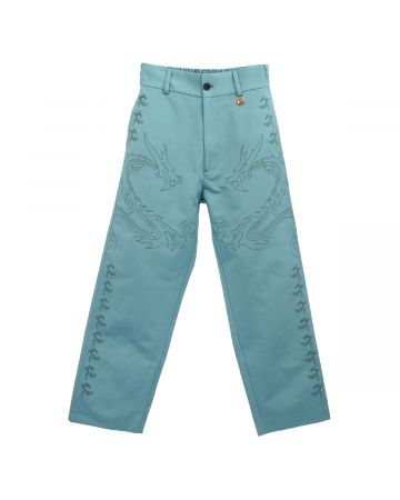 Xander Zhou TROUSERS WITH EMBROIDERY DETAILS / TEAL BLUE