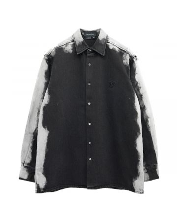 Xander Zhou LONG SLEEVES SHIRT IN WASHED EFFECT DENIM / BLACK DENIM