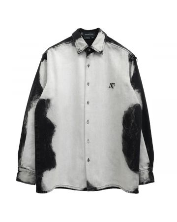 Xander Zhou LONG SLEEVES SHIRT IN WASHED EFFECT DENIM / WHITE DENIM