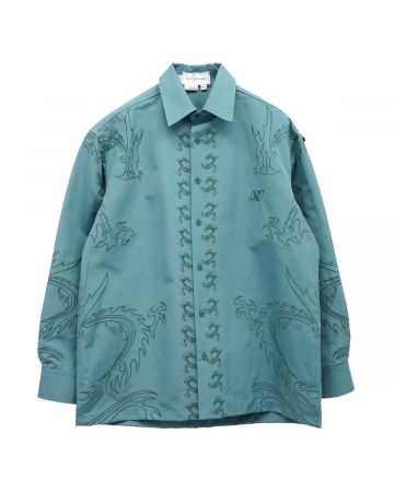Xander Zhou LONG SLEEVES SHIRT WITH EMBROIDERY DETAIL / TEAL BLUE