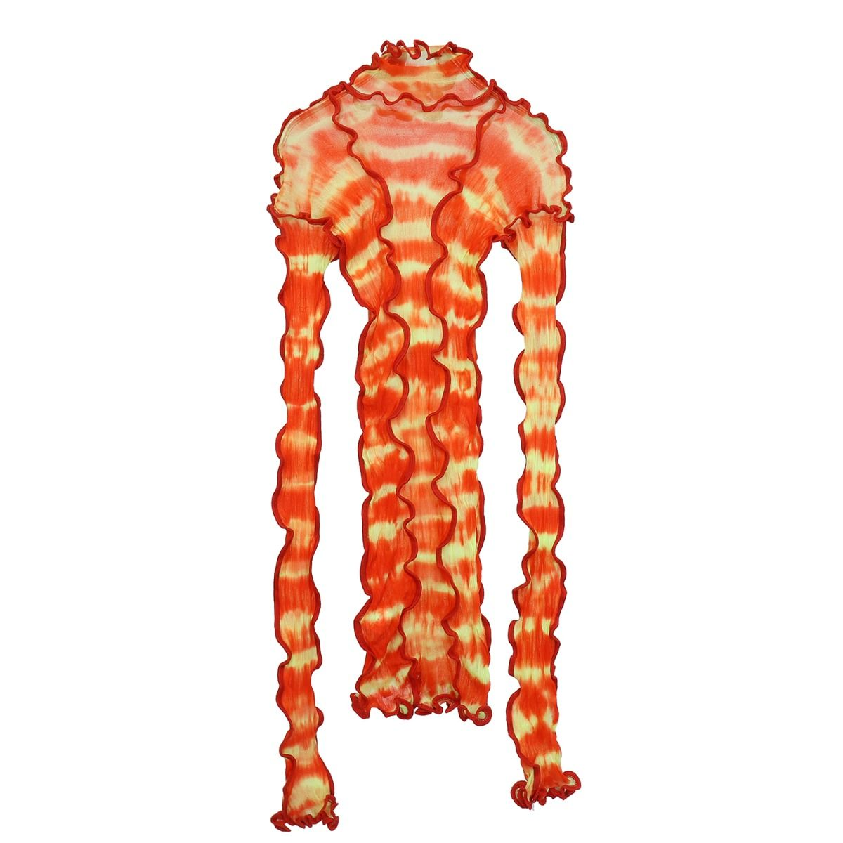 ASAI HOTWOK/ASAICON PATCHWORK STRETCH TIE DYE SEAMED / FLAME PA RED&ORANGE