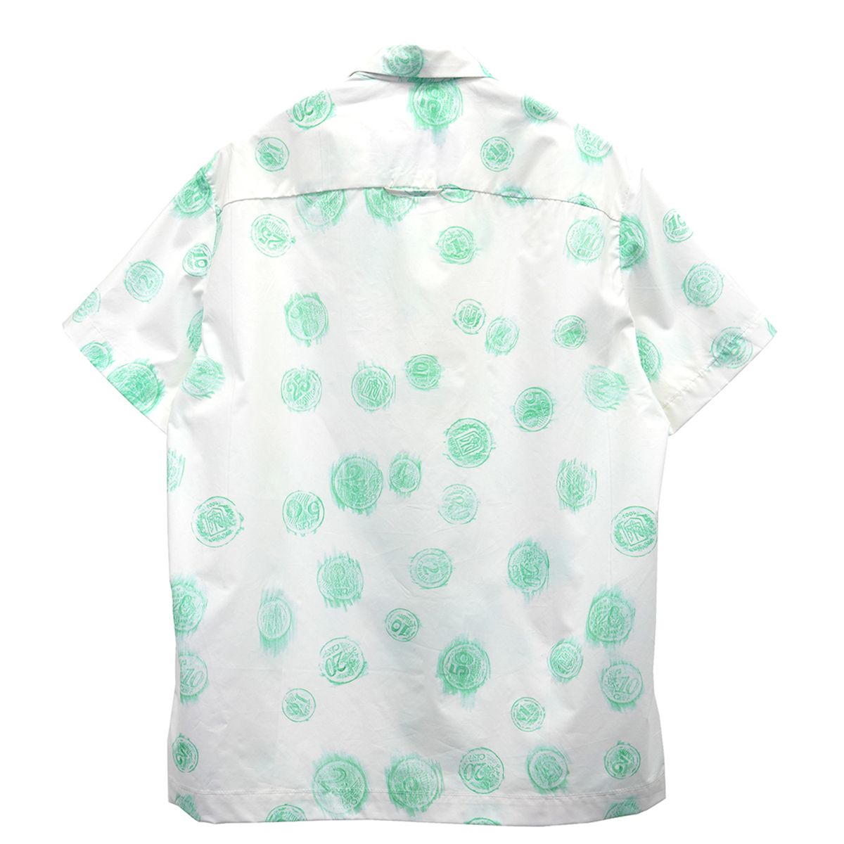 ANTON BELINSKIY HAWAIIAN SHIRT / PRINT WHITE AND GREEN COINS