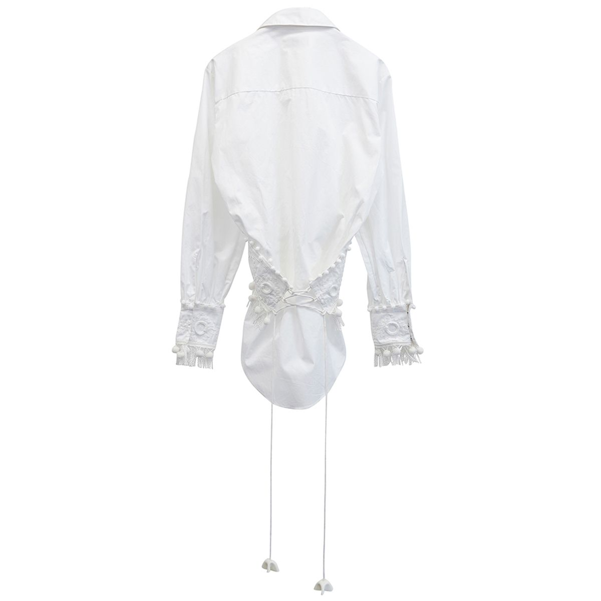 Charles Jeffrey LOVERBOY BONNIE PRINCE CORSET SHIRT / WHITE WITH TRIMS