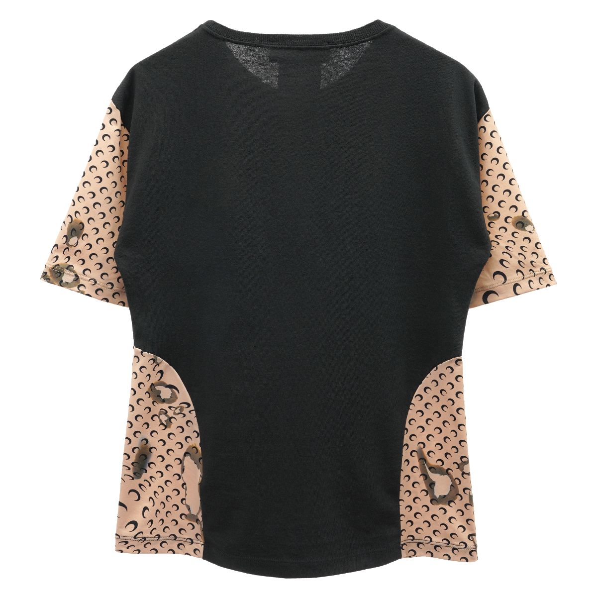 MARINE SERRE REGENERATED T-SHIRT WITH CONTRAST SIDES 1 / 00 : BLACK