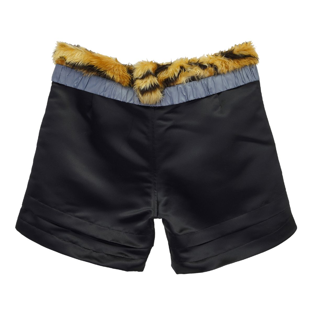 NICOMEDE SATIN SHORTS WITH TIGER WAISTBAND SHORTS / BLACK