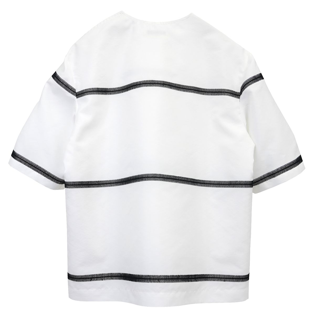 NAMACHEKO MIHI SHIRT / 9037 : OPTICAL WHITE-BLACK EMBRO