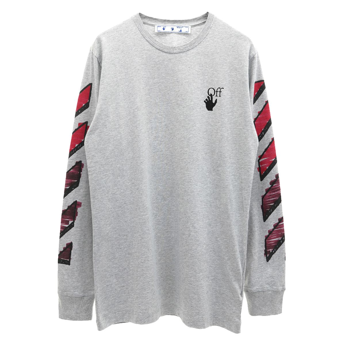 OFF-WHITE c/o Virgil Abloh MENS MARKER L/S TEE / 0825 : MELANGE GREY RED