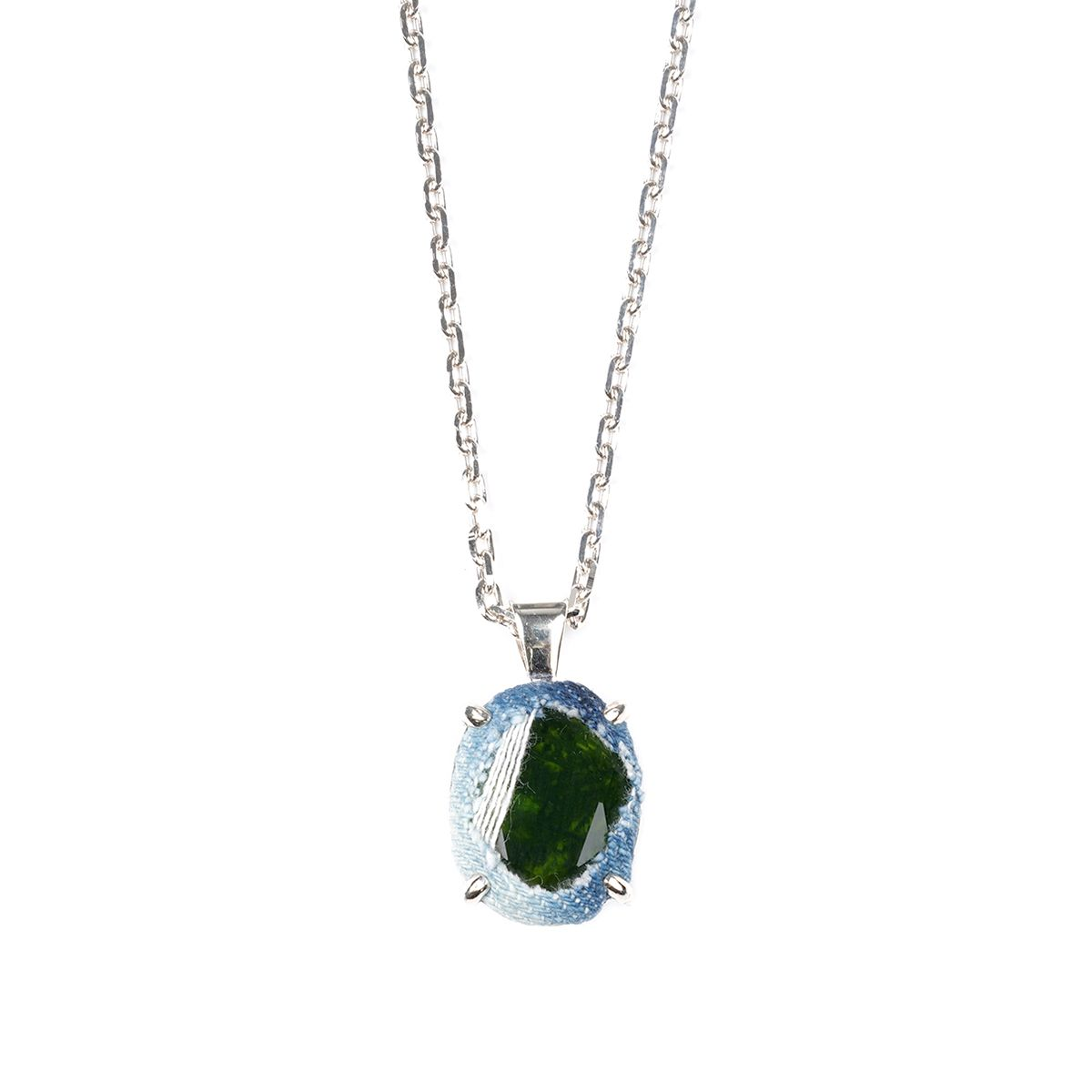 SWEETLIMEJUICE SILVER DENIM OVAL NECKLACE / BLUE DENIM-OLIVE STONE