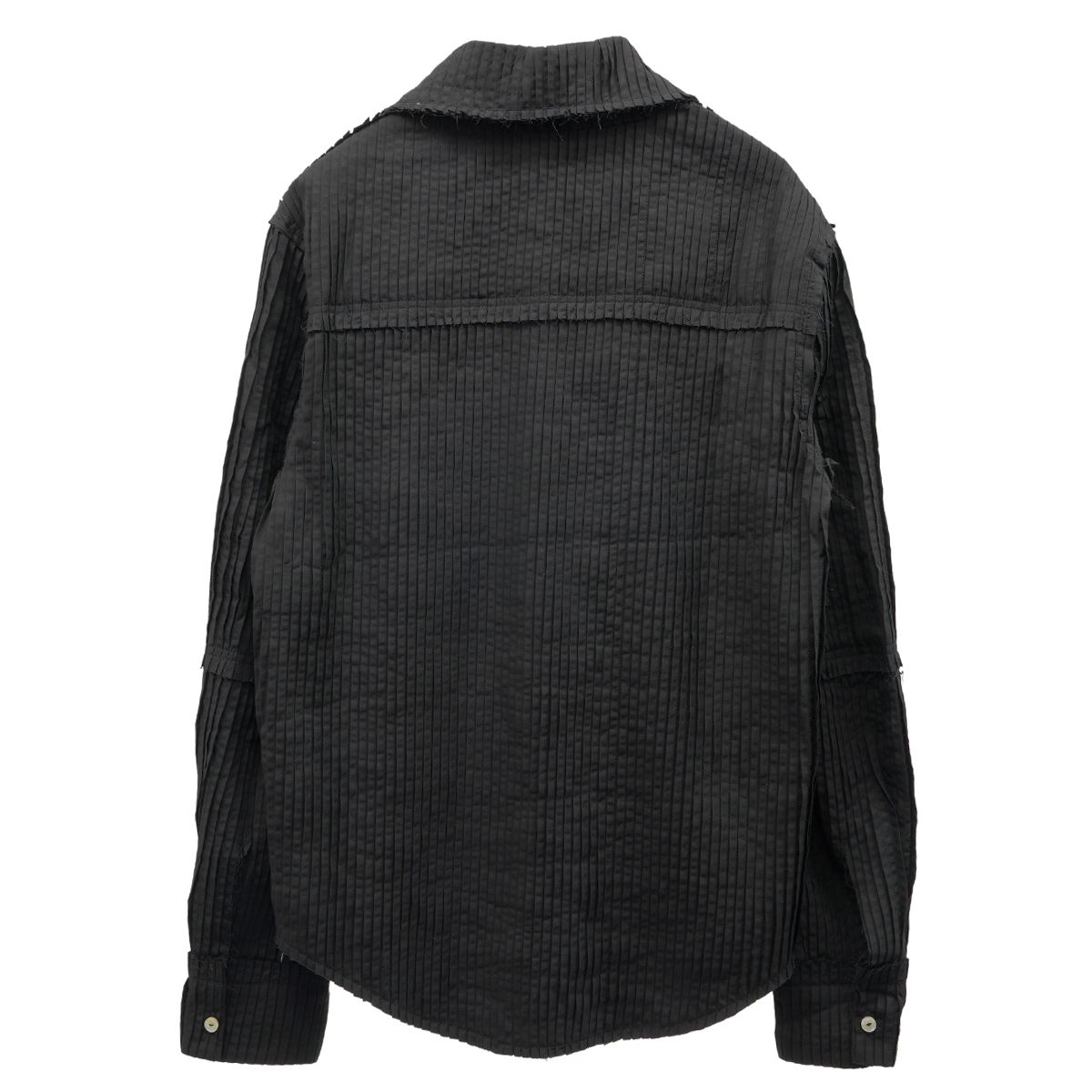 TELFAR PLEATED HIGH COLLAR DRESS SHIRT / 002 : BLACK